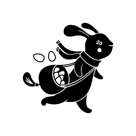Running Easter cute bunny with bag of eggs, isolated on white background. Vector illustration. Stock Illustratie
