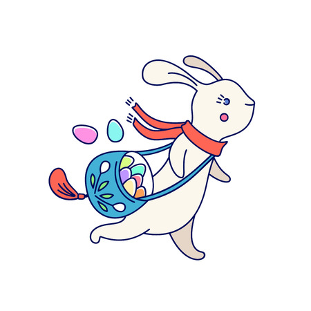 Running Easter cute bunny with bag of colored eggs, isolated on white background. Vector illustration.