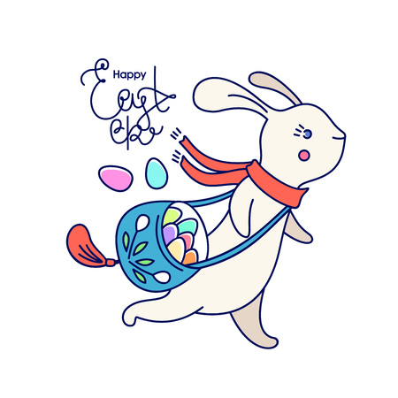 Running Easter cute bunny with bag of eggs and Happy Easter lettering, isolated on white background. Vector illustration.