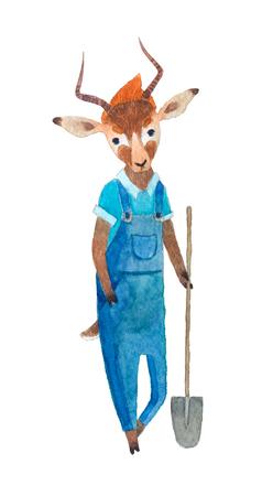 Antelope farmer holding a shovel isolated on white