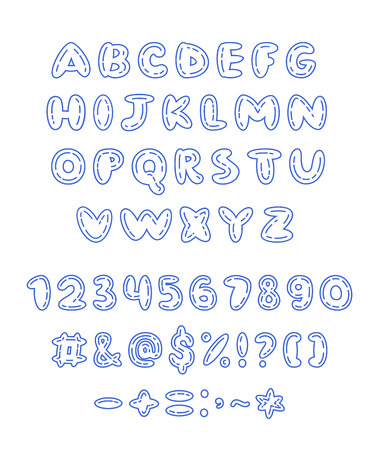 Vector doodle character, number and punctuation marks set
