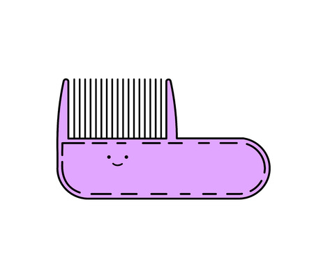 Cute doodle comb, vector illustration isolated on white Illustration