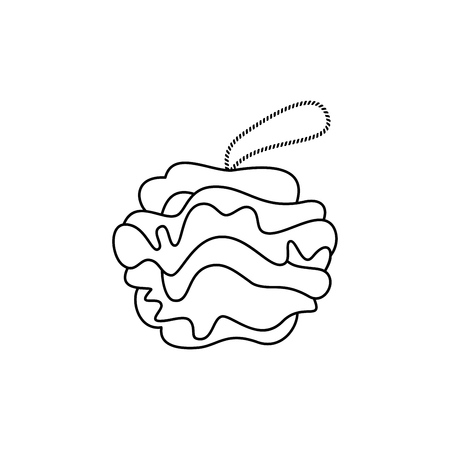Doodle Shower Scrubber. Shower Puff vector icon on white background.