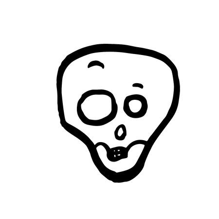 Shocked skull. Halloween vector illustration isolated on white Illustration