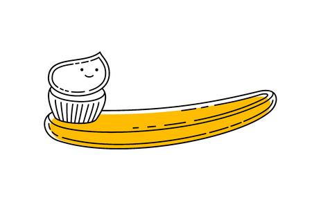 Doodle toothbrush with applied toothpaste Vektoros illusztráció