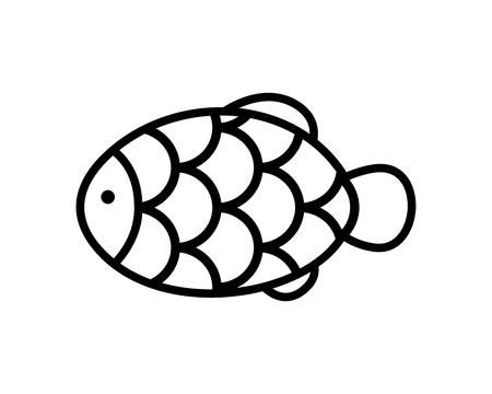 Japanease fish shape cake icon isolated on white