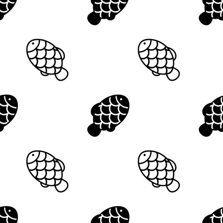 Fish with scale seamless pattern on white background