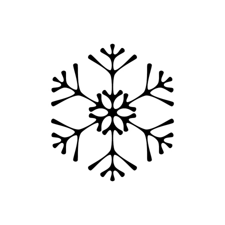 Elegant snowflake vector icon isolated on white background