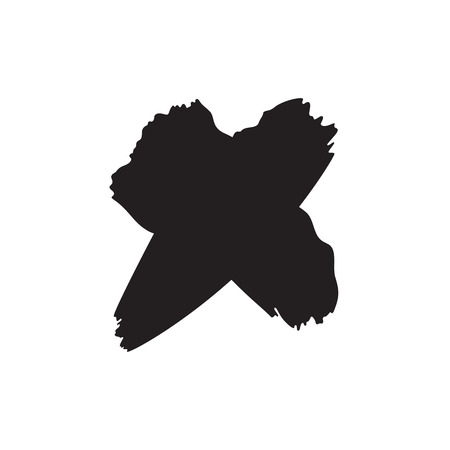 Black hand drawn x symbol on white background