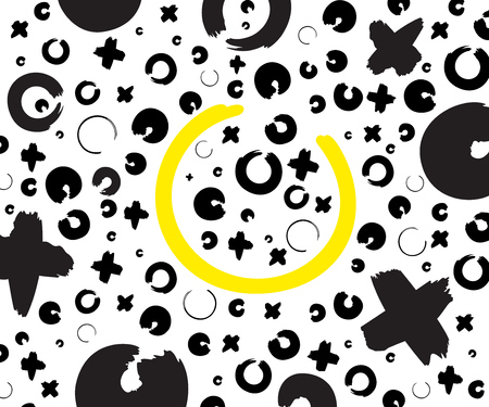 Black and yellow hand drawn pattern with x and o symbols on white background. Vector ink repeating cross and zero or xo sign