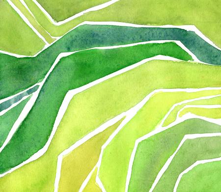 Watercolor rice or tea plantation on cascades field