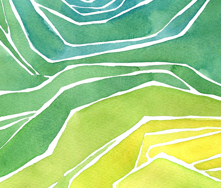 Watercolor rice or tea plantation on cascades field