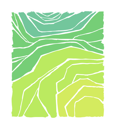 Rice or tea plantation on cascades field, vector illustration, top view