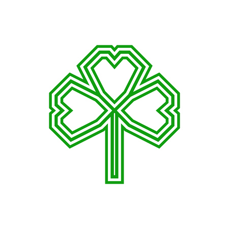 Shamrock leaf icon, flat logo isolated on white