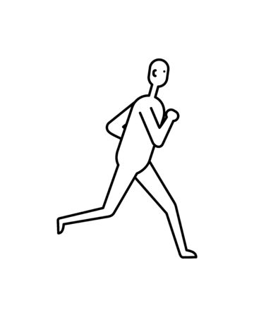 Running man flat icon isolated on white bckground  イラスト・ベクター素材