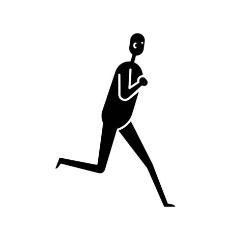 Running man flat icon isolated on white background  イラスト・ベクター素材