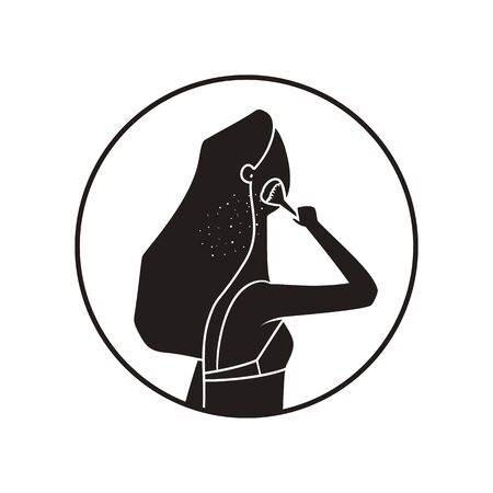 Monochrome icon of make-up girl isolated on white background