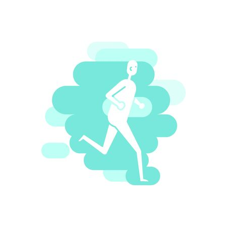 Human running position. White abstract figure on colorful backdrop
