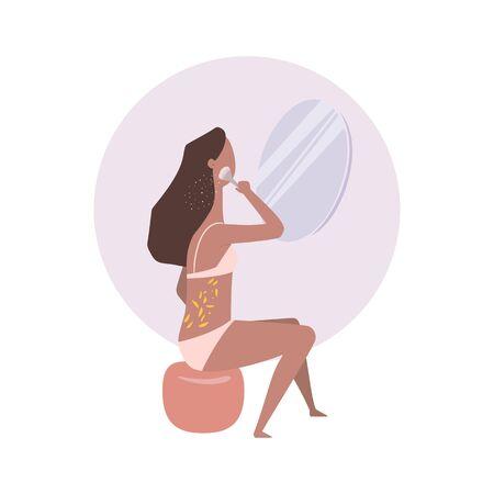 Icon of make-up girl isolated on white. Flat style illustration