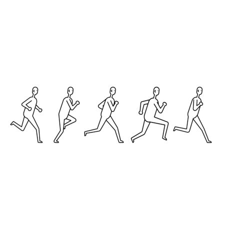 People various running position. Icon set. Illustration on white