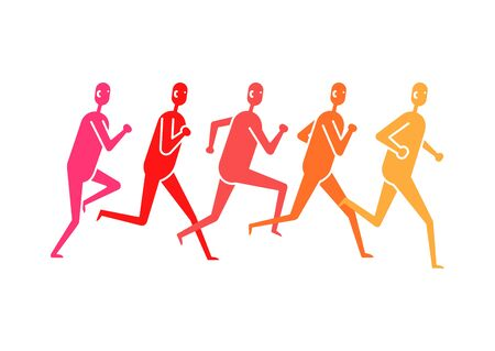 People various running position. Composition of abstract figures on white Archivio Fotografico - 133430938