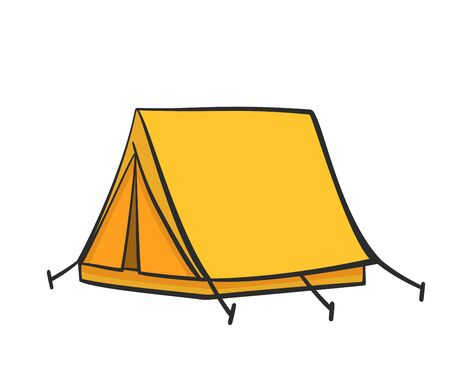 Yellow doodle tent illustration for nature tourism, journey, adventure
