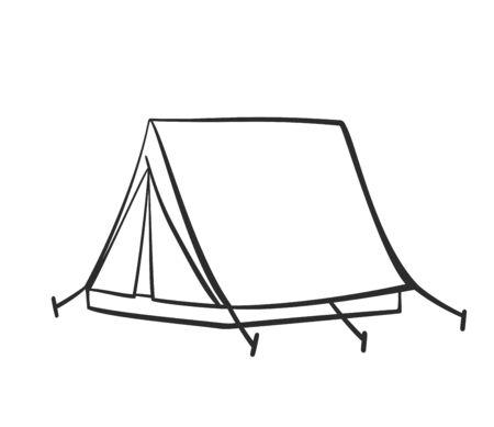 Doodle tent illustration for nature tourism, journey, adventure