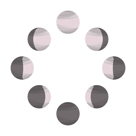 Powdery pink moon icons on white, phases of the Moon Stock fotó