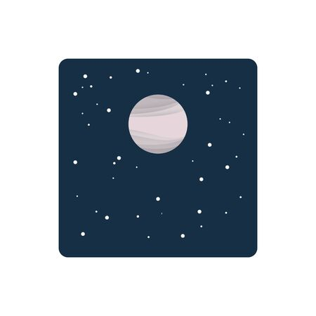 Powdery pink moon in starry night sky , vector illustration Stock fotó
