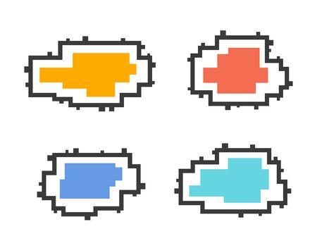 Set of message boxes. Colorful pixel speech bubbles Ilustracja