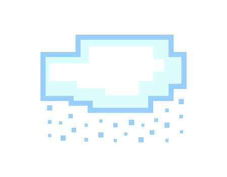 Vector pixel art cloud with falling snow isolated on white