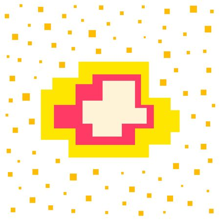 Vector pixel speech bubble. Message box with space for text. Abstract pixel art background