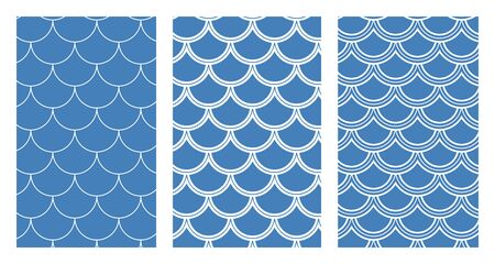 Variation of fishscale seamless pattern, decorative style Archivio Fotografico - 136620066