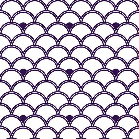Variation of fishscale seamless pattern, decorative style Archivio Fotografico - 136620072