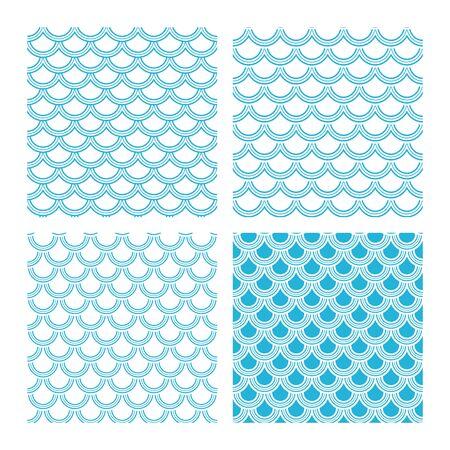 Variation of fishscale seamless pattern, decorative style Archivio Fotografico - 136620079