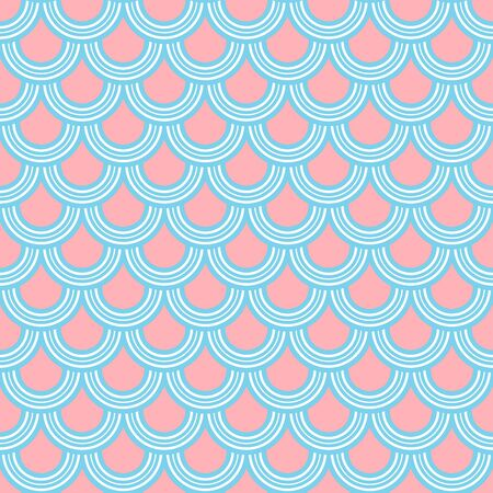 Variation of fishscale seamless pattern, decorative style Archivio Fotografico - 136620095