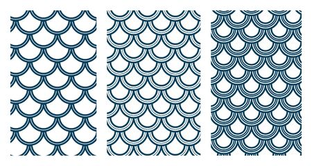 Variation of fishscale seamless pattern, decorative style Archivio Fotografico - 136620111