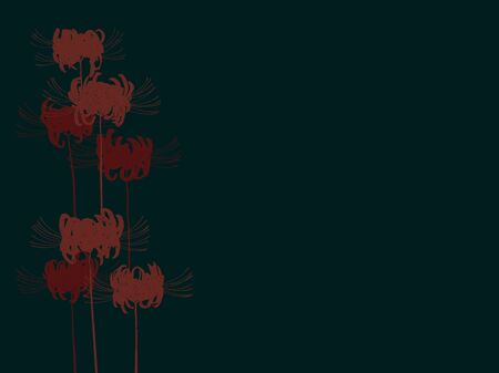 Hand drawn red spider lily silhouette isolated on dark background