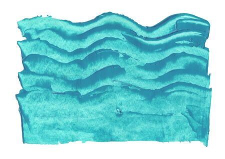 Acrylic hand drawn abstract blue wave pattern isolate don white Stock Photo