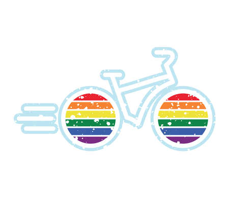 Bike icon with colors of lgbt flag wheels on white background Illusztráció