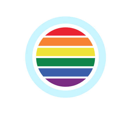 Round icon with colors of lgbt flag wheels on white background Illusztráció