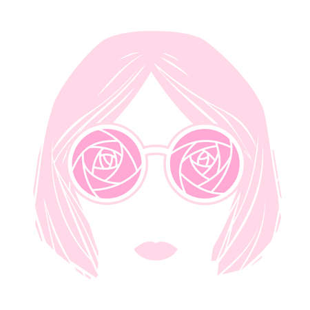 Girl head in glasses with rose pattern and short hair isolated on white