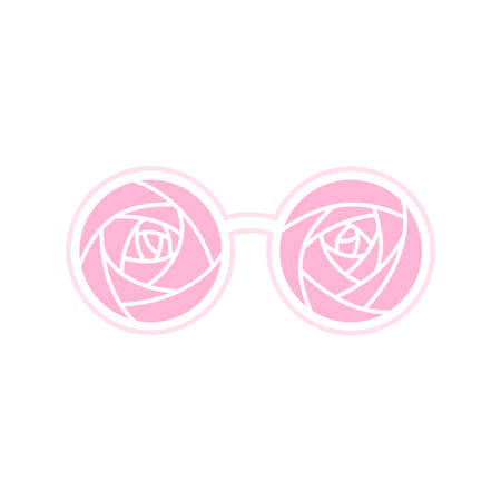 Pink round glasses with abstract rose pattern isolated on white