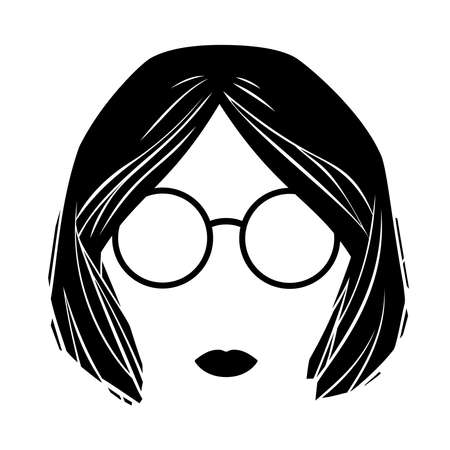 Girl head with glasses and short hair isolated on white
