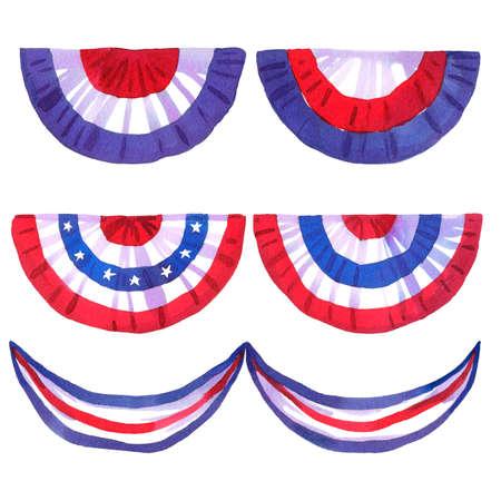 Set of USA celebration decor, national flag colors