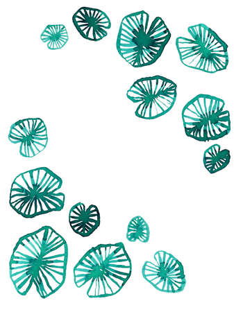 Minimalistic emerald watercolor Lotus leaves on white