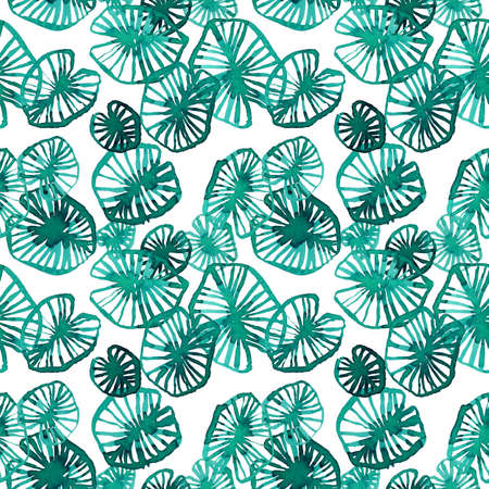 Watercolor water lily leaves on white, seamless pattern