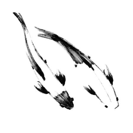 Sketch of pair japanese koi fishes, top view Stock fotó