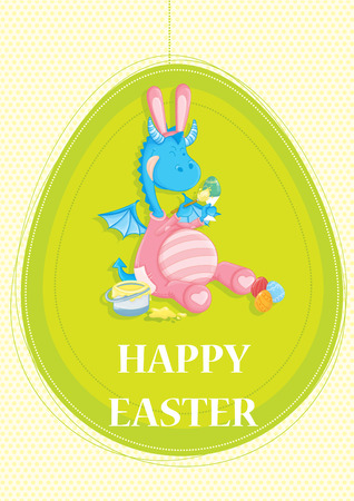 blue dragon: Happy Easter greeting card with cute blue dragon