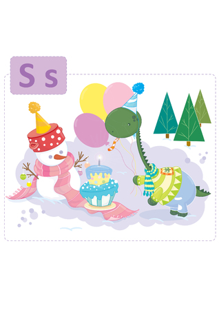 Dinosaur alfabet, letter S van Snowman